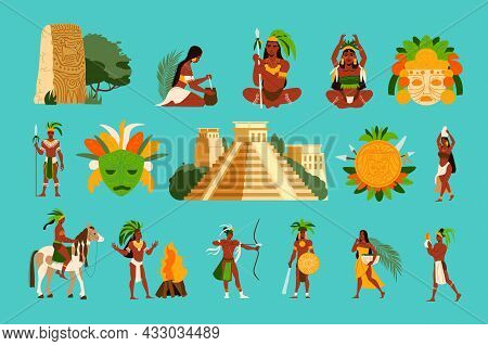 Maya Civilization Set In Flat Style With Mayan Women Men Pyramid Masks Idols Isolated On Color Backg