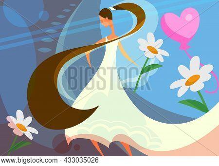 Wedding Banner With Bride Holding Flower. Postcard Design In Cartoon Style.