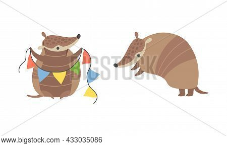 Cute Armadillo Character With Armor Shell Holding Garland And Standing Vector Set