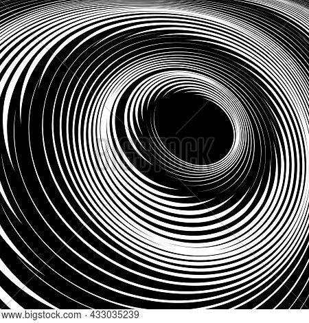 Abstract Textured Black And White Background With Vortex Swirl Movement. Vector Art.
