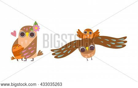 Happy Owl Family With Father, Mother And Baby Flying And Embracing Vector Set