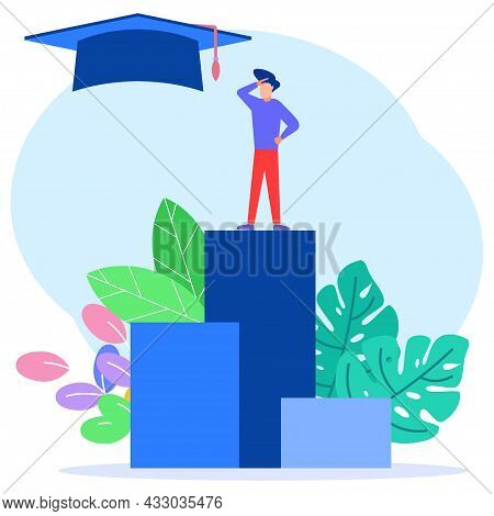 The Young Businessman Climbs The Heap Of The Curve To Knowledge. Concept Of Education And Profession