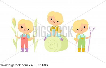 Little Blond Girl In Jumpsuit At Farm With Pitchfork And Sitting On Hay Vector Set