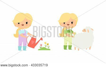 Little Blond Girl In Jumpsuit At Farm Watering Flowers And Shearing Sheep Vector Set