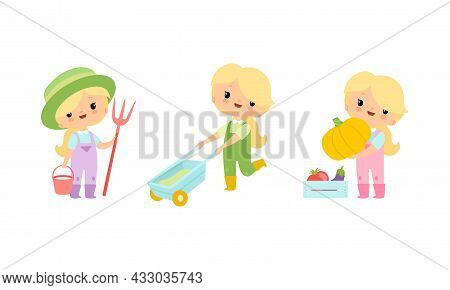 Little Blond Girl In Jumpsuit At Farm Pulling Wheelbarrow And Holding Pumpkin Vector Set