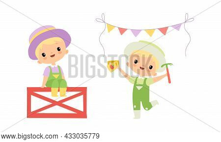 Little Blond Boy In Jumpsuit At Farm Sitting On Fence And Holding Seeds Vector Set