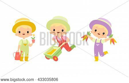 Little Blond Boy In Jumpsuit And Hat At Farm With Wheelbarrow And Watering Can Vector Set