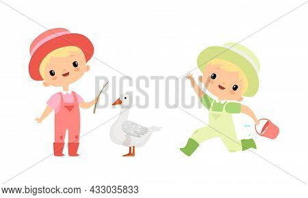 Little Blond Boy In Jumpsuit And Hat At Farm Running With Bucket And With Goose Vector Set