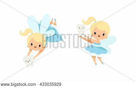 Cute Little Tooth Fairy With Blond Hair And Ponytail Flying With First Baby Tooth Vector Set