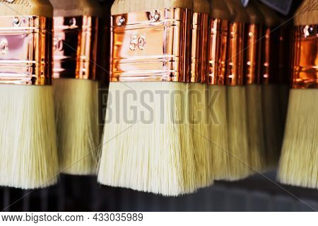 Brushes For Painting Walls And Ceilings. Trade In Tools For Applying Glue And Paint To Surfaces. Clo