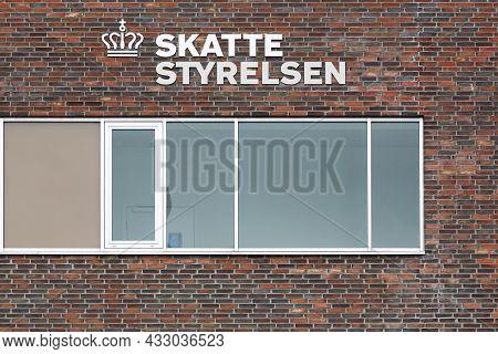 Horsens, Denmark - May 13, 2021: The Danish Tax Authority Building Called Skatte Styrelsen In Danish