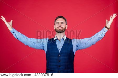 He Is A Success In Every Way. Ambitious Businessman With Raised Arms. Enjoying Success.
