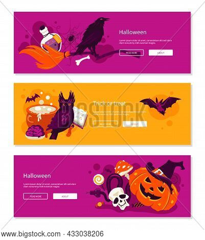 Treat Or Treat - Cartoon Banners With Three Colored Backgrounds