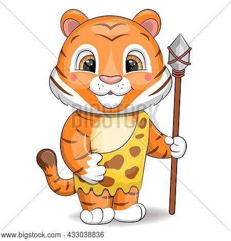 Stone Age Tiger With A Spear. Cute Cartoon Cave Animal On A White Background.
