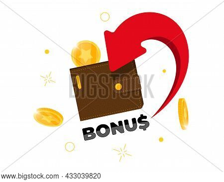 Bonus Cashback Income Loyalty Program Advertising Concept. Gold Coins Returned To Wallet. Earn Point