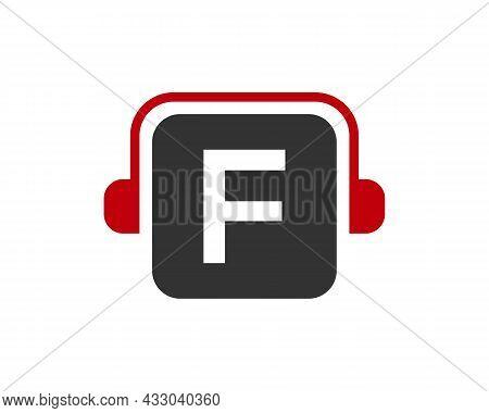 Headphone Logo On F Letter. Letter F Music Logo Design Template Headphone Concept