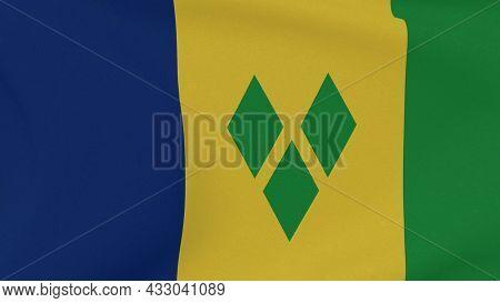 Flag Vincent And The Grenadines Patriotism National Freedom, 3d Illustration