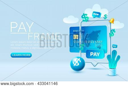 Mobile Pay Service, Financial Payment Smartphone Mobile Screen, Technology Mobile Display. Vector
