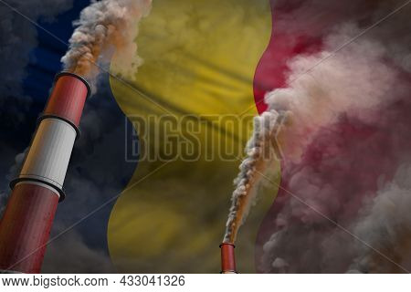 Chad Pollution Fight Concept - Two Huge Plant Pipes With Dense Smoke On Flag Background, Industrial