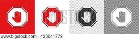 Red Stop Hand Icon Set. Access Ban Sign Simbol. Vector Flat