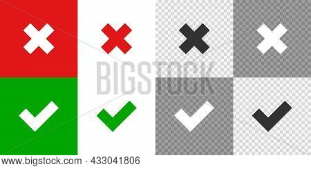 Cross And Check Mark Set Icon. Flat Isolated Tick. Vector
