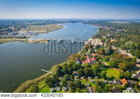 Aerial scenery of the Martwa Wis?a river and Sobieszewo Island by the Baltic Sea in Gdansk. Poland