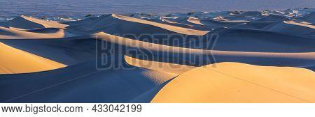Sand dunes in California, USA. Beautiful nature landscapes travel sunrise background