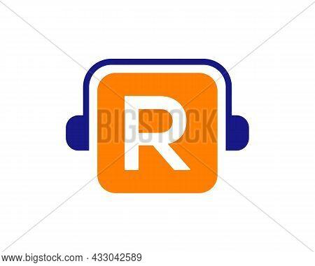 Headphone Logo On R Letter. Letter R Music Logo Design Template Headphone Concept