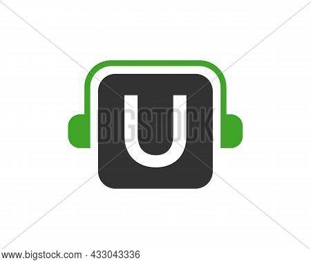 Headphone Logo On U Letter. Letter U Music Logo Design Template Headphone Concept