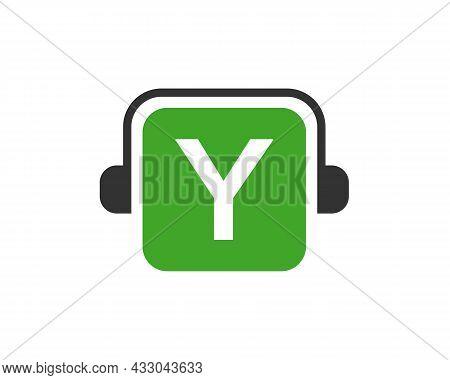 Headphone Logo On Y Letter. Letter Y Music Logo Design Template Headphone Concept