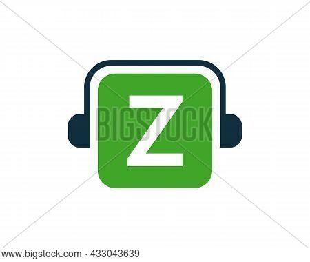 Headphone Logo On Z Letter. Letter Z Music Logo Design Template Headphone Concept