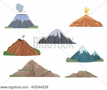 Mountain And Volcano Tops Flat Vector Illustrations Set. Rocks Of Different Shapes, Snowy Peaks, Roc