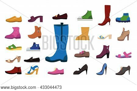Footwear For Women Flat Vector Illustrations Set. Collection Of Stylish Female Shoes For Different S