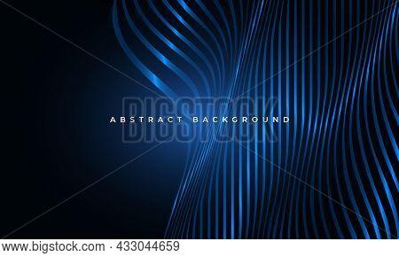 Abstract Luxury Dark Blue Wavy Fluid Glowing Shapes Elegance Geometric Background. Striped Vertical