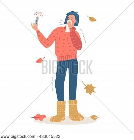 Woman Sneeze Covered By Tissue. Coronavirus Covid-19 Outbreak Concept. Female Full-length Character
