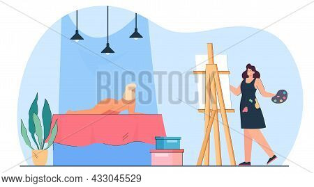 Female Artist Painting Portrait Of Nude Model On Canvas. Girl Drawing Woman With Naked Body In Art C
