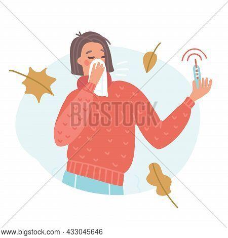 Young Woman Sneezing Or Coughing In Handkerchief With High Temperature Thermometer. Concept Of Fever