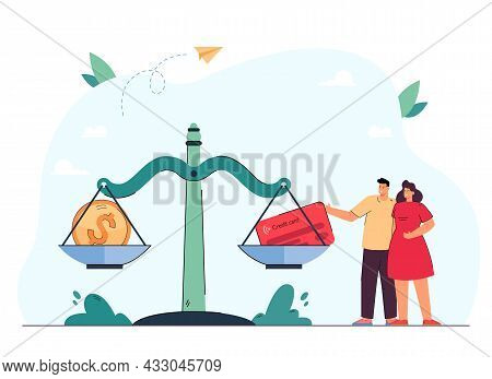 Couple Standing Next To Huge Scales With Coin And Credit Card. Husband And Wife Choosing Between Cas