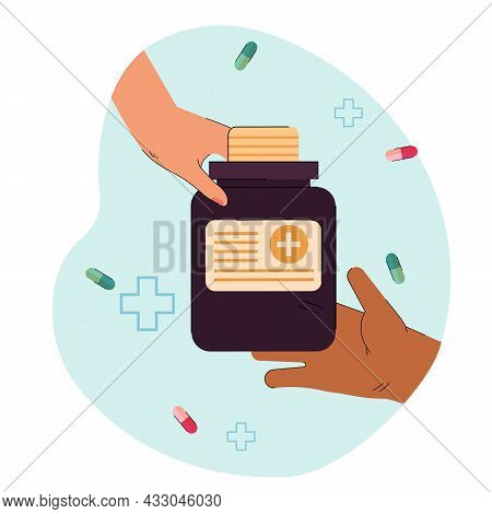 Hand Of Doctor Giving Big Jar With Pills To Patient. Treatment For Illness Or Disease Flat Vector Il