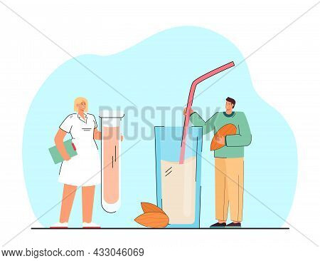 Man With Huge Glass Of Almond Milk And Nurse With Test Tube. Vegan Person Drinking Alternative Milk