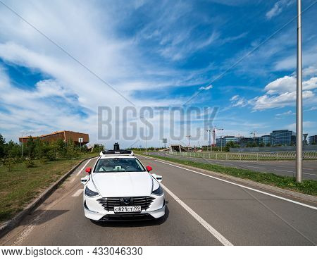 Innopolis, Russia - 08 01 2021: A Self Driving Or Driverless Car Operates A Regular Taxi Service For