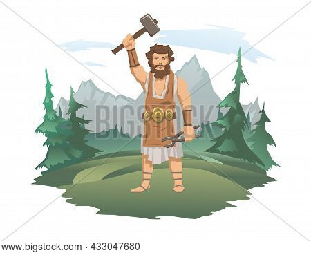 A Mighty Blacksmith With A Hammer And Tongs. Forest And Mountain Landscape In The Background. The An