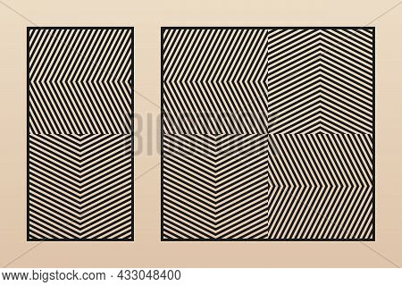 Laser Cut Patterns. Vector Template With Abstract Geometric Ornament, Zigzag Lines, Chevron, Grid. D
