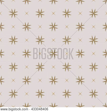 Simple Golden Vector Geometric Floral Texture. Abstract Seamless Pattern With Small Flower Silhouett