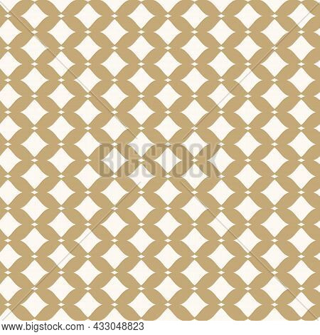 Abstract Vector Grid Pattern. Seamless Luxury Illustration With Golden Mesh And Shapes. The Simple P