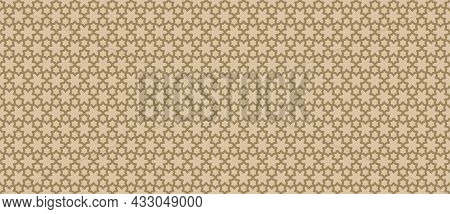 Golden Vector Abstract Geometric Seamless Pattern. Traditional Islamic Ornament With Lines, Lattice,