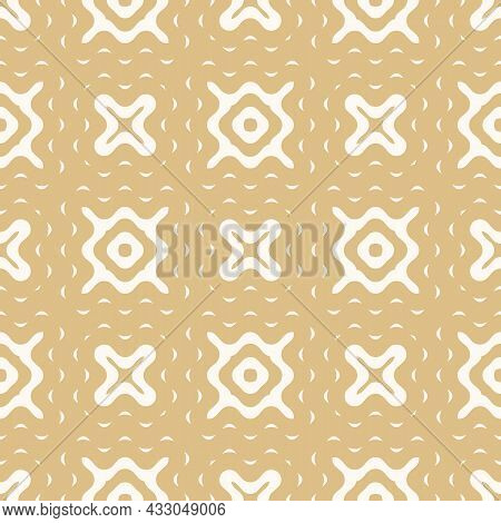 Vintage Organic Ornament. Seamless Pattern With Liquid And Wavy Luxury Gold Shapes. Vector Illustrat