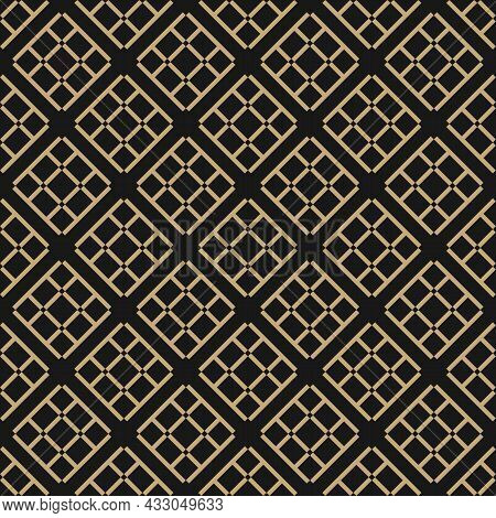 Vector Seamless Abstract Pattern Of Formed Shapes With Small Squares, Diamonds And Straight Lines. S