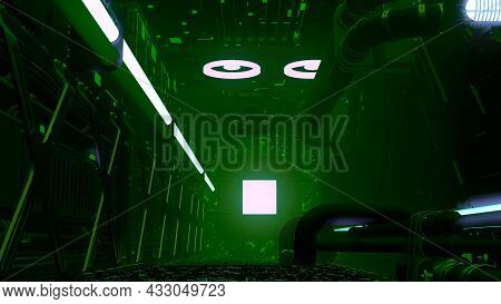 3d Room In Basement. Motion. 3d Room With Pipes And Glowing Walls In Style Of Program. Basement Room