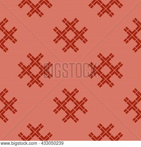 Vector Abstract Geometric Seamless Pattern. Ethnic Folk Style Texture. Stylish Vintage Ornamental Ba